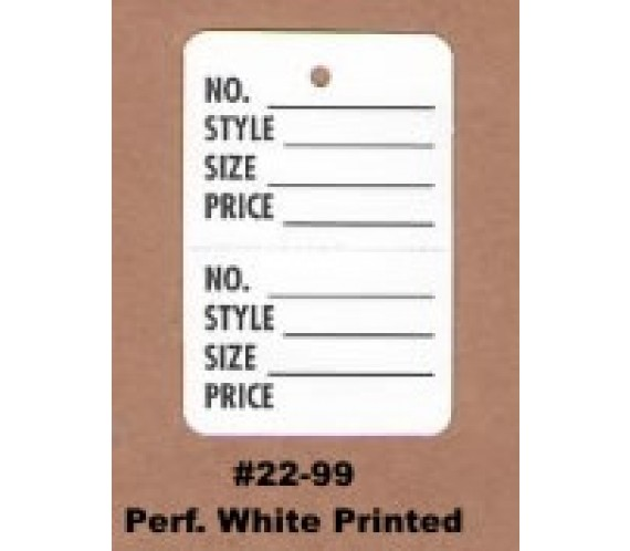 "#22-99, Perf. White, printed black - 1-1/4"" x 1-7/8"""