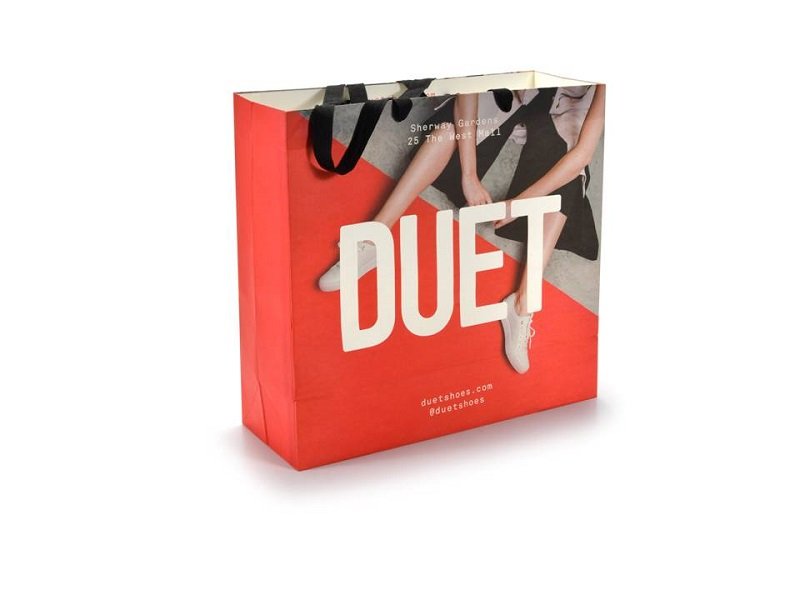 Duet-White Kraft Paper Shopping Bag